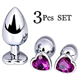 3PCS Stainless Steel Ànâles Trainer Kit-Jewelry Bûtt Pl'ugs Beads Massage Toys Jeweled Back Massage Toys (Dark Purple)