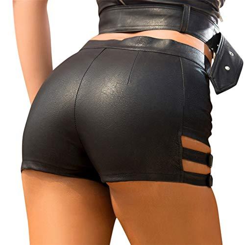 Dorical Damen Kunstleder Hohe Taille Shorts, Schwarz Sexy Hotpants Kostüm Basic Pants Leggings Kunstleder-Optik Kurze Hose (Large, Z4-Schwarz)