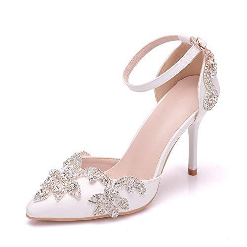 WHFKFBS Ivory Damen Brautschuhe Spitz Stiletto Absatz Hochzeit Absatzschuhe mit Elegant Strass Kristall Braut Pump Schuhe,Weiß,EU35