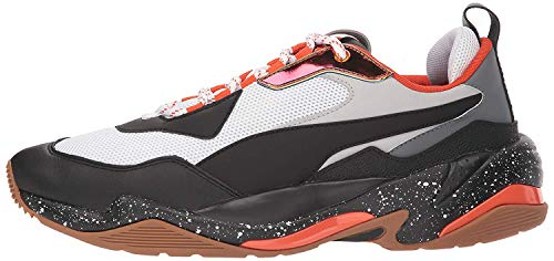 PUMA Men's Thunder Sneaker, White Black-Mandarine Red, 8 M US