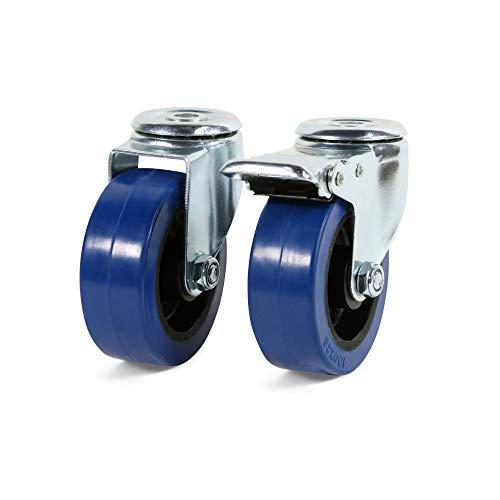 Castor Wheels 100mm Heavy Duty Rubber 360 Swivel Trolley Caster Brake Wheels (1 of Each Wheel Type (2 Wheels))