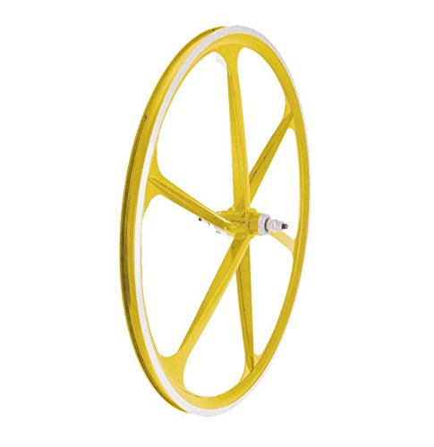 RMS Ruota Posteriore Scatto Fisso 6 Razze in Lega 30mm Giallo (Scatto Fisso) / Rear Wheel Fixed Track Alloy 6 Spokes 30mm Yellow (Fixed Wheel)
