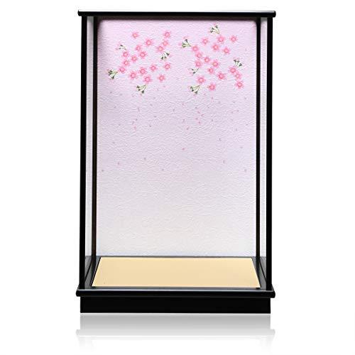【木製ケース】【ガラスケース】【市松人形ケース】?10号H カブセケース「桜吹雪背景」【人形ケース】