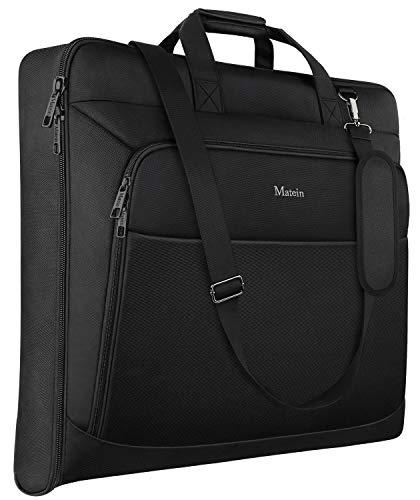 MATEIN Suit Bag, 46 inch Carry-on Travel Garment Bag with Adjustable Shoulder Strap, Dress Suit Carrier for Women and Men, Fits for Business Trip-Black