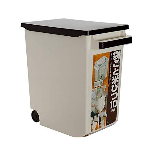 ZXL graanhouder, rijstkoker voor huishoudelijk gebruik 10 kg box voor rijst zegel luchtvochtigheid voor keuken (kleur: bruin)