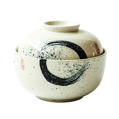 YAeele Bowl Japanese Style Ceramic Ramen Bowl With Lid Home Retro Fruit Salad Bowl Soup Bowl Creative Cutlery Set
