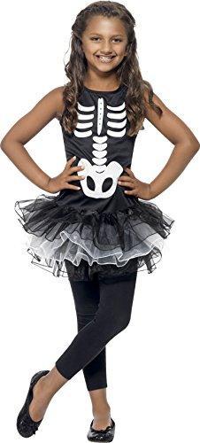 Smiffys-43029L Diseño Disfraz de Esqueleto, Vestido con tutú Estampado, Color Negro, L-Edad 10-12 años (Smiffy
