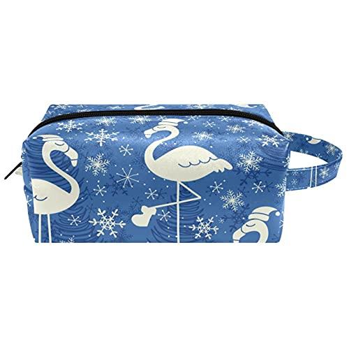 Flamingo con sombrero de Navidad, copos de nieve, color azul, bolsa de cosméticos, bolsa de maquillaje de microfibra de piel con cremallera