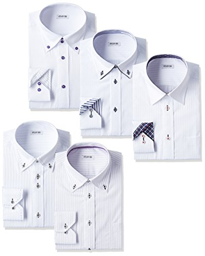 [アトリエサンロクゴ] ワイシャツセット ワイシャツ 5枚セット 形態安定 長袖Yシャツ ワークシャツ ビジネスワイシャツ メンズ Hset 首回り39cm裄丈82cmスリム(日本サイズM相当)