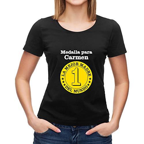Calledelregalo Regalo para Madres Personalizable: Camiseta 'Medalla a la Mejor Madre' Personalizada con su Nombre y el tuyo/vuestro (Negro)
