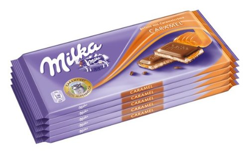 Milka Caramel, Tafelschokolade, 100g, 1er Pack (5 x 100g)