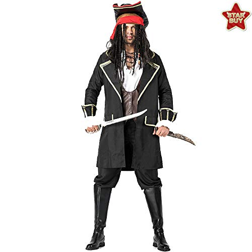 COSOER Jack Captain Cosplay Kostüm Männliche Piraten Performance Bühnenkleidung Für Halloween Kostüme Party,Redheadscarf-M