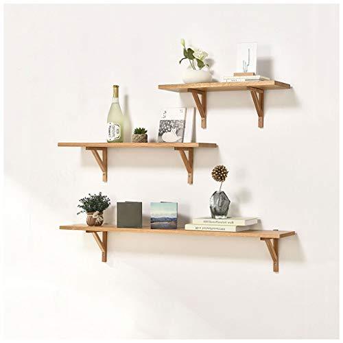 LDG Moderne eenvoudige wandrek, 60/80/120 cm eiken zwevende rekken voor het ophangen van boekenplanken set van 3 boekenrekken