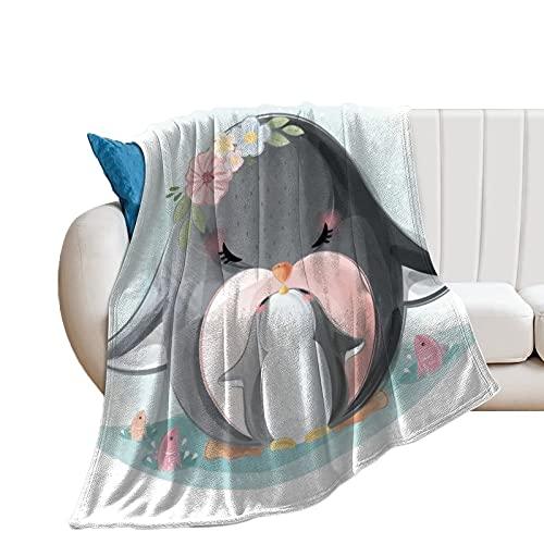 Kuscheldecke Süßer Pinguin Wohndecke Super Weich Tagesdecke Flauschig Sofadecke Überwurf Decke Sofa und Couch 100x130cm