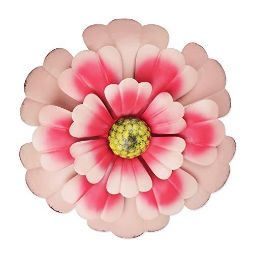 YiYa 33CM Decoración de Pared de Flores de Metal Múltiples Capas Arte de Pared de Flores Decoraciones de Arte de Pared Colgante para balcón Patio Porche Dormitorio Sala de Estar Jardín (Rosado)