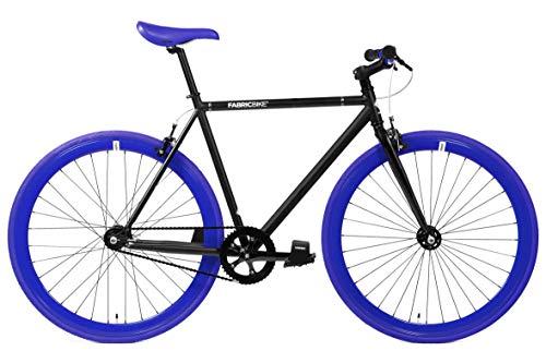 FabricBike-Fixie Bike, Fixed Gear Bike, Single Speed, Hi-Ten Steel Black Frame, 10Kg (Matte Blue & Red, L-58)
