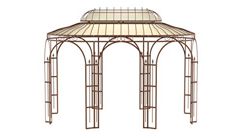 ELEO Verona wunderschöner Gartenpavillon Winterfest I Stabiler Ovalpavillon Roh Edelrost Ø 4 x 2,85 m I Stabiler Rosenpavillon aus Schmiedeeisen mit Sonnensegel I Pavillon für Garten