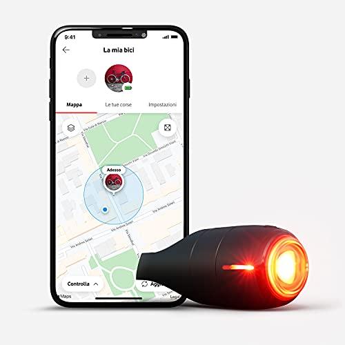 vodafone Curve Bike luce e tracker GPS, fanalino intelligente 40 lumen, tracciamento GPS, rilevamento impatti, Sirena 107dB, impermeabile IP67, per l'uso sottoscrivere servizio di connettività, nero