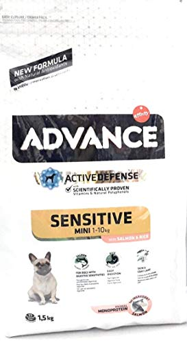 Advance Canine Adult Sensitive Razas Mini 1,5KG, Negro, Estandar, 1500