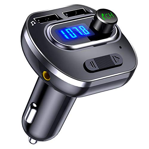 VicTsing (Upgraded Version) V4.1 Bluetooth FM Transmitter for Car, Wireless In-Car Bluetooth Adapter, Bluetooth Radio Transmitter Support Aux Input Output, TF Card and U-Disk, Hands-Free calls