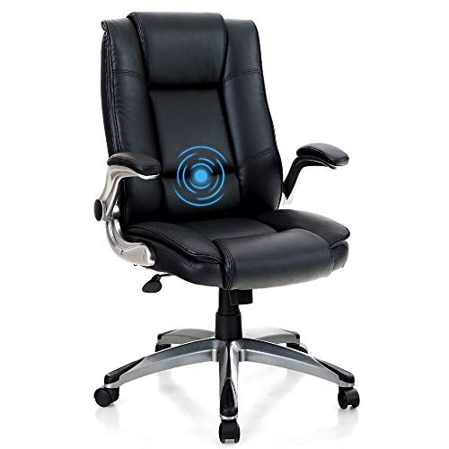 MAISON ARTS High Back Office Chair Desk Chair, Adjustable Ergonomic Massage Swivel Task Chair Computer Chair with Rocking Function and Flip-up Arms, Black