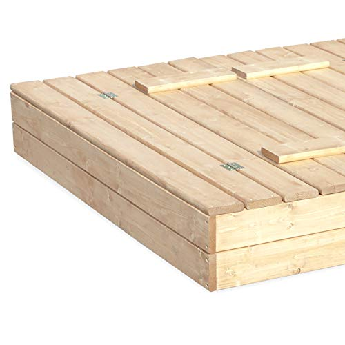Sandkasten Sandbox Sandkiste mit Klappdeckel Sitzbänken 120x120x20 Kiefernholz mit Anti-Unkraut Bodenplane Deckel und Bank Buddelkasten Quadratisch Gartenspiel Natur Nicht lackiert - 6
