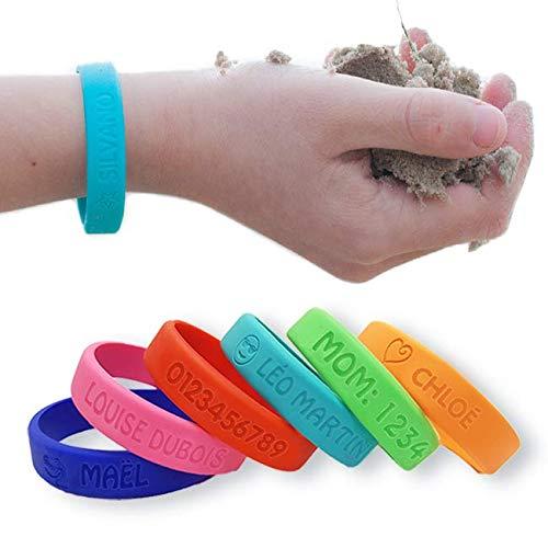 Bracelet identification SOS personnalisable - Bienmarquer, en silicone, waterproof et ultra résistant.