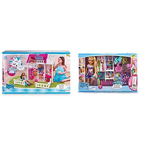 Nancy - Sweet Home, Casa para Muñecas Nancy con Accesorios + Espejo 1001 Peinados, Muñeca con Armario, Espejo y Accesorios de Peluquería