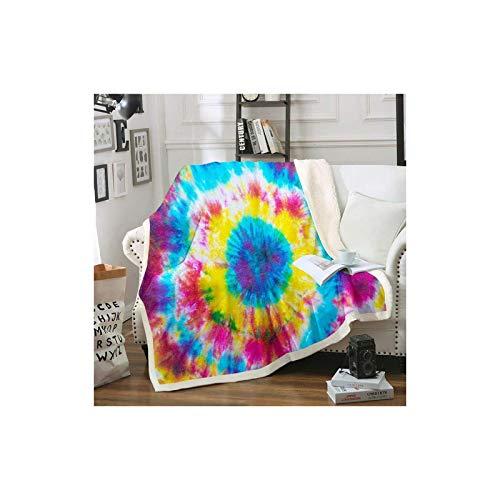 Manta bohemia psicodélica, de forro polar gitano, para niños, niñas, adolescentes, exótica, estilo de tribu sherpa, manta colorida, teñida para silla, oficina, manta de felpa King de 221 x 238 cm