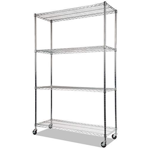 Alera ALE Complete Wire Shelving Unit w/Caster, Four-Shelf, 48 x 18 x 72, Silver