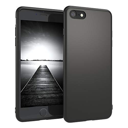 EAZY CASE Handyhülle Silikon mit Kameraschutz Apple iPhone 8/7 / SE (2020) in schwarz matt, Ultra dünn, Slimcover, Silikonhülle, Hülle, Softcase, Backcover
