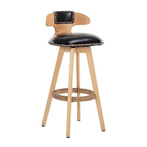WEHOLY Tabouret de Bar en Bois avec siège en Cuir synthétique et Dossier Haut pour Table de Bar ou comptoir pour la Famille et Les Affaires (Couleur : F, Taille : 42 × 42 × 70 cm), b, 42×42×70cm