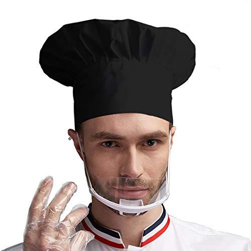 gorro de chef ajustable para adultos con elástico para cocinar, cocinar, cocinar, gorro de chef negro