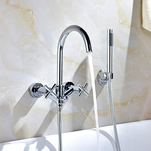 2 Loch-Set Badewannenarmatur Wandmontage mit Handbrause Duschsysteme Duscharmatur mit Wasserfall Wannenarmatur Einhandmischer Wasserhahn für Bad Dusche