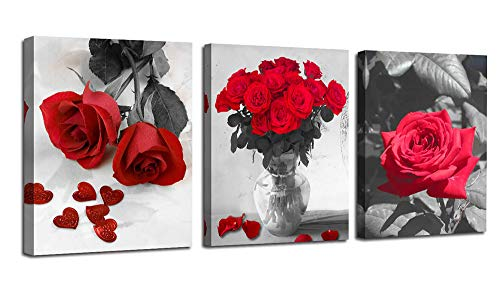 Ardemy Canvas Wall Art Red Rose 3 Panels Flowers Pictures Prints Black And White Painting Modern Romantic Florals Framed Ready To Hang For Bathroom Kitchen Bedroom Washing Room Spa Wall Decor Buy