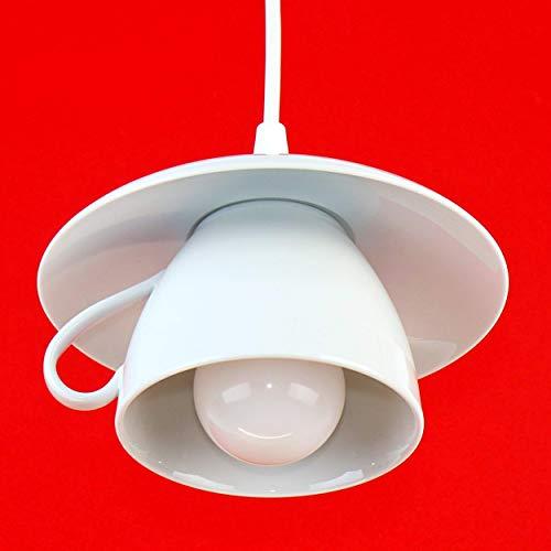 Große Tassenlampe, Lampe aus Jumbo-Tasse, Boholampe, Geschirrlampe, Landhauslampe, Küchenlampe aus Geschirr, E27, weiß