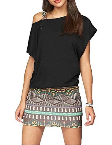 Yiarnme Damen Sommer Mini Kleider Schulterfrei Minikleid Fledermaus Blumenkleid Standkleid Pencil Sommerkleid 1180Schwarz XL
