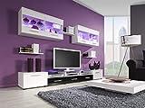 Maxima House CAMA I TV 6-Teiliges Set Wohnwand Anbauwand Modern Wohnzimmerschrank Mediawand Fernsehschrank II 249x188x 42 cm (BxHxT) II Wohnzimmer (Weiß/Schwarz)
