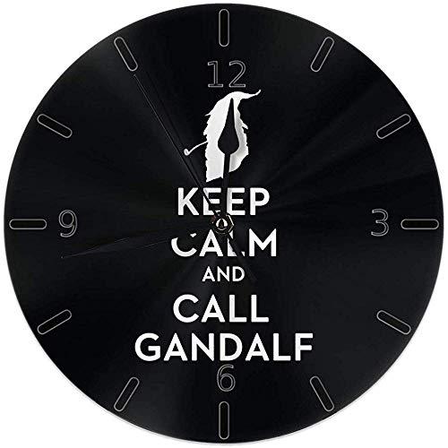 Kncsru Wanduhr Stille, Nicht tickende runde Wanduhren, ruhig bleiben und Gandalf-Uhren anrufen. Batteriebetriebene analoge leise Quarz-Tischuhr
