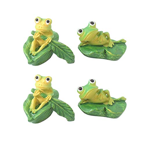 Amosfun 4pcs Mini Animals Miniature Frog Ornament Cake Topper Fairy Garden Accessories Plant Pots Bonsai Craft Micro Landscape Decorations Random Style
