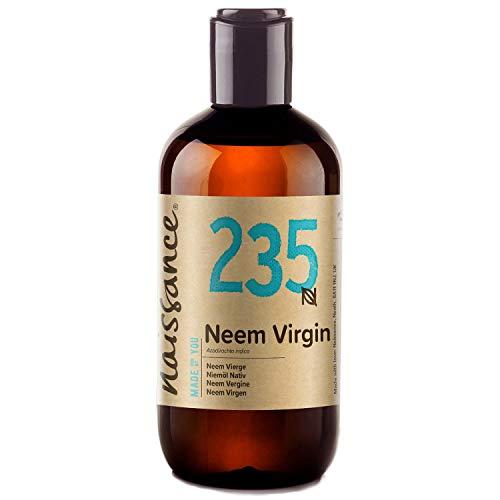 Naissance Aceite Vegetal de Neem 250ml - 100% Puro, Virgen, Natural, Prensado en Frío, Vegano y no OGM - Ideal Para La Piel, Cabello, Plantas