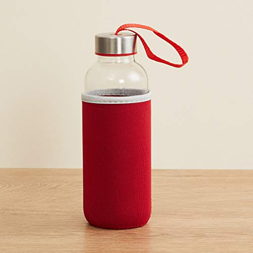 Home Centre Favola-Cyprus Transparent Glass Water Bottle with Pouch - 400 ml - Red