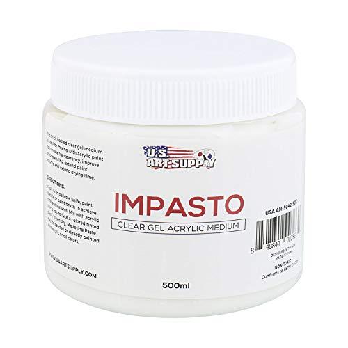 U.S. Art Supply Impasto Clear Gel Acrylic Medium, 500ml Tub