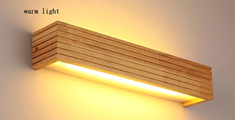 SHI Xiang Shop Einfache Nordic Massivholz LED Spiegellampe Licht Warm 35cm (6 Watt) 45cm (8 Watt) 55cm (12 Watt) A+ (Farbe   Warmes licht, gre   45cm (8 w))