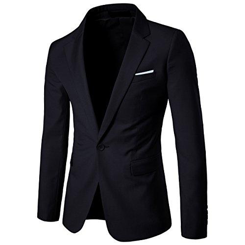 Allthemen Sakko Herren Slim Fit Anzugjacke EIN Knopf Sakko für Business (Large, Schwarz)
