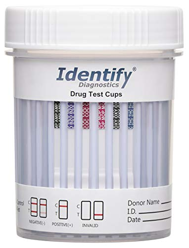 5 Pack Identify Diagnostics 6 Panel Drug Test Cup - Testing Instantly for 6 Different Drugs THC, OXY, MOP, COC, BZO, AMP ID-CP6 (5)