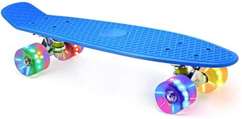 Skevic Skateboard 55cm/22inch para Principiantes Adultos y Niños, Mini Cruiser Retro Skateboard con All-in-One Skate T-Tool, Skateboard con 4 LED PU Ruedas (Azul)