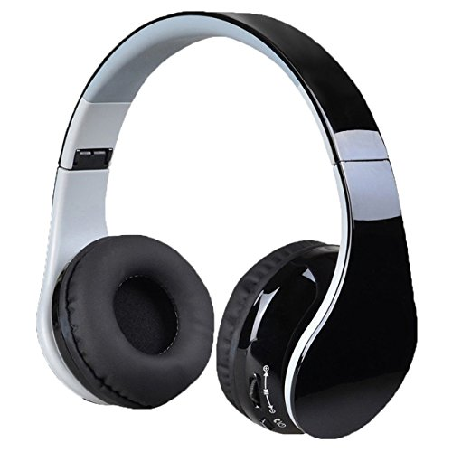Wireless Bluetooth Headphones with Microphone - Hi-Fi Wireless/Wired Foldable Stereo Headphones Over Ear with Comfortable Protein Ear Pads For iPhone,iPad,iPod,Samsung Smartphone and More (Black)