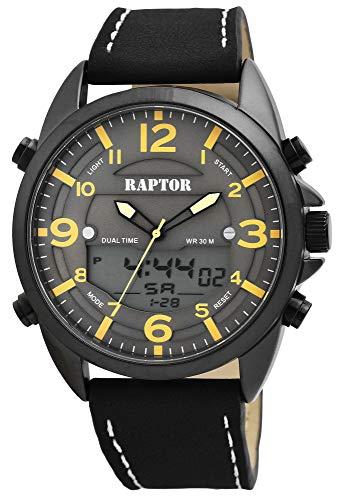 Raptor Herren-Uhr Echt Leder Multifunktion Digital Analog RA20262