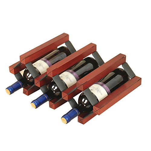 FDR Vino de Madera rústica Estante del Vino en Rack Tabla Estante del Vino Botella de Vino Rack de Almacenamiento Display Rack, múltiples tamaños L20.01.27 (Size : 5 Bottle)